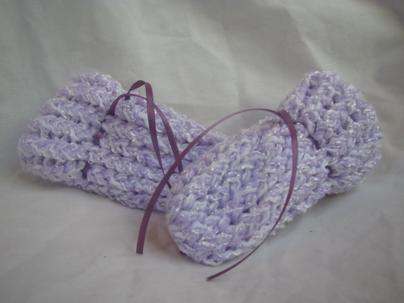 Purple & White Baby Booties