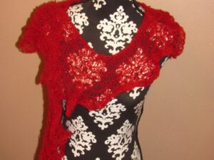 Red Lace Frilly Scarf