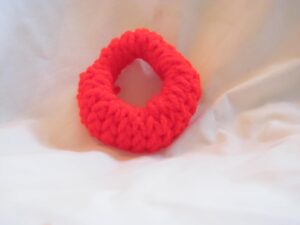 Hot Red Hand Knitted Scrunchie