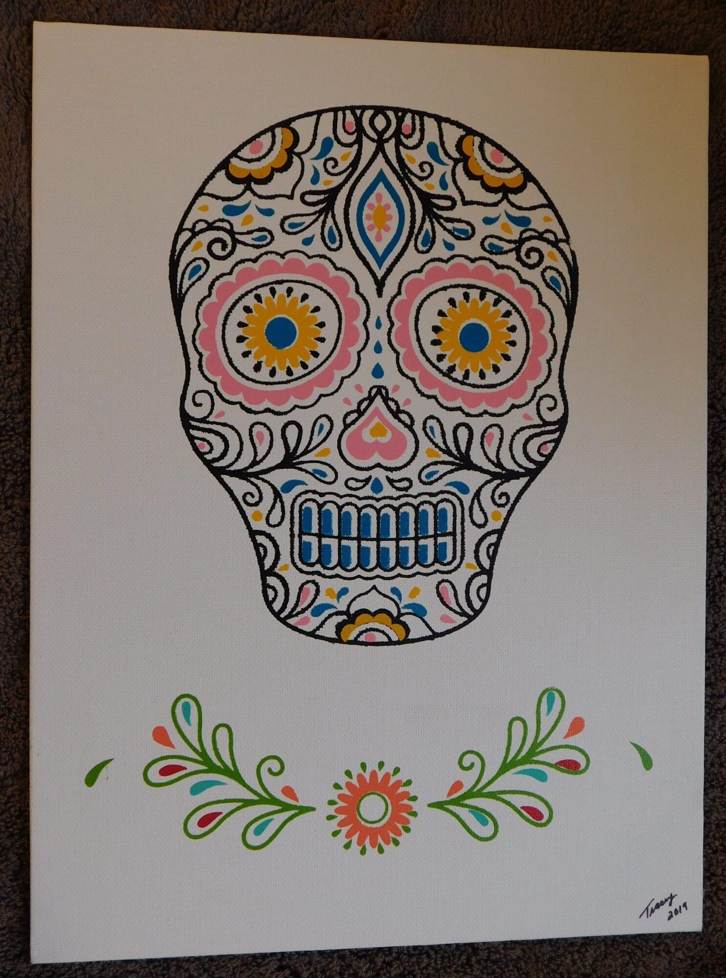 Skull On Flat Canvas